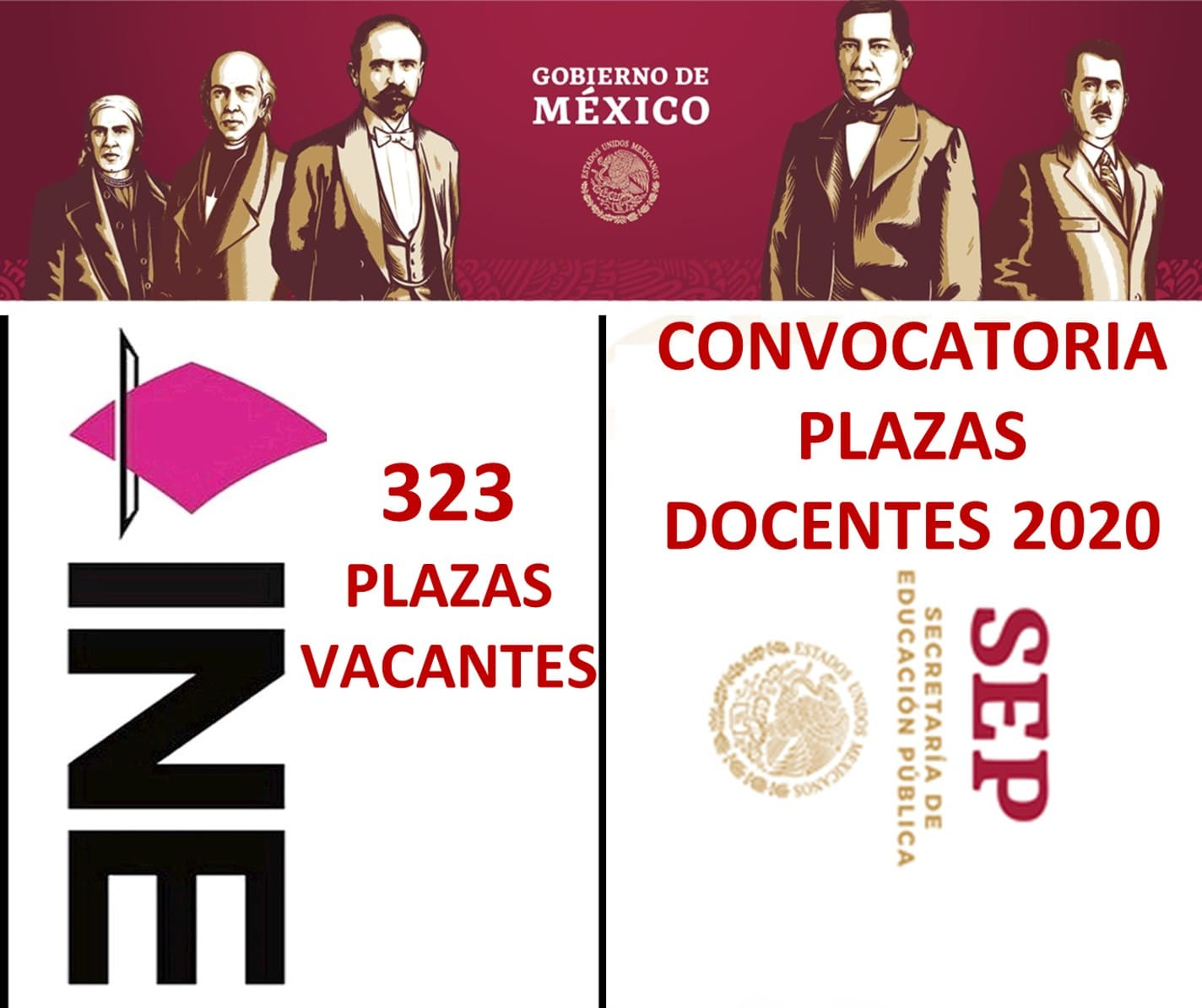 Photo of 323 plazas en el INE y Plazas Docentes SEP: Convocatoria 2020-2021