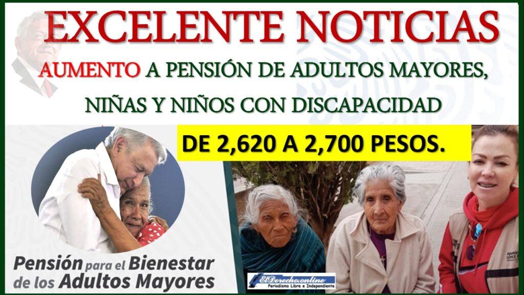 México aumenta las pensiones para adultos mayores y niños con discapacidad